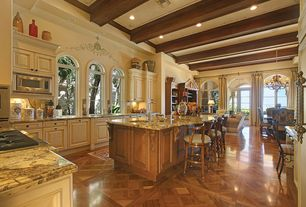Traditional Kitchen with Breakfast bar, L-shaped, High ceiling, Complex granite counters, Undermount sink, double wall oven