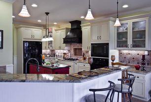 Traditional Kitchen with limestone tile floors, Limestone Tile, Quoizel Duchess 1 Light Mini Pendant, Breakfast bar, Flush