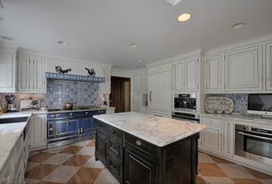 Country Kitchen with mexican tile backsplash, Stainless steel apron sink - single basin, Complex marble counters, Custom hood