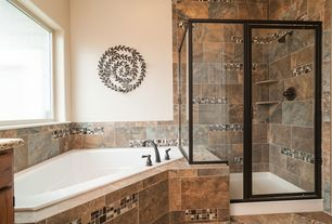 Craftsman Master Bathroom with Bathtub, Standard height, stone tile floors, partial backsplash, complex granite tile counters