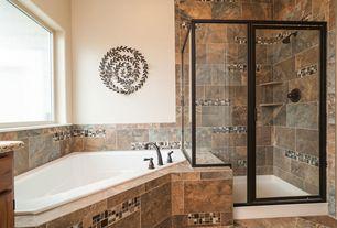 Craftsman Master Bathroom with drop in bathtub, complex granite tile counters, Master bathroom, Shower, framed showerdoor