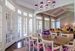 Contemporary Great Room with Exposed beam, Chandelier, High ceiling, Circa lighting rectangular flatline chandelier