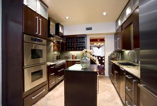 Modern Kitchen with Paint 1, MS International Ginto Limestone, full backsplash, Standard height, electric cooktop, can lights
