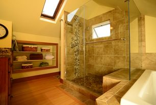 Full Bathroom with Hardwood floors, Cabot porcelain tile - italia series italia noche, Inset cabinets, frameless showerdoor