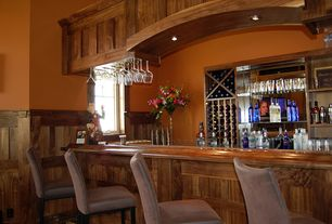 Craftsman Bar with can lights, Crown molding, Casement, Built-in bookshelf, High ceiling