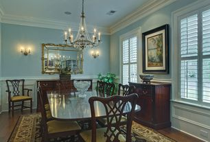 Traditional Dining Room with Chair rail, Wall sconce, Wainscotting, Paint1, Chauncey Side Chair, Abbott Dining Table