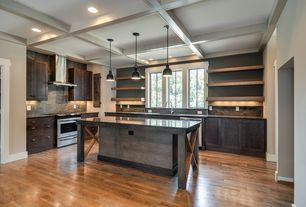 Contemporary Kitchen with gas range, Casement, Wall Hood, Soapstone Tile, Box ceiling, Stone Tile, Standard height, L-shaped