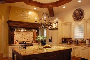 Mediterranean Kitchen with Glass panel, Undermount sink, flat door, Wall Hood, Chandelier, Exposed beam, L-shaped, can lights
