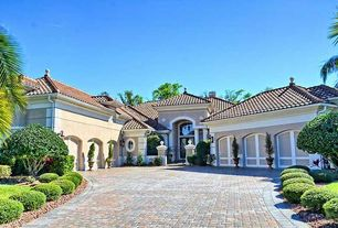 Mediterranean Garage with High ceiling, Exterior stucco, 6-car garage, Chuluota, florida, Wall sconce, Tile roof