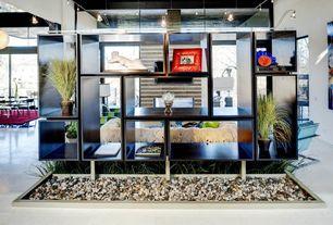 Modern Entryway with Standard height, Built-in bookshelf, Pendant light, Concrete tile