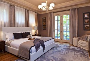 Traditional Master Bedroom with Crown molding, Baxton - Jeslyn White Modern Bed with Tufted Headboard - King Size, Chandelier