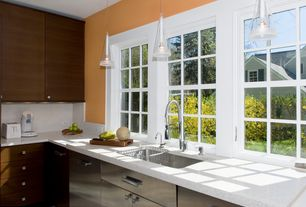 Contemporary Kitchen with Standard height, Pendant light, Casement, full backsplash, Simple marble counters, L-shaped, Flush