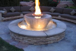 Contemporary Patio with Fire pit, Fountain, exterior stone floors