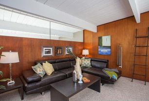 Modern Living Room with Table lamp, Exposed beam, Carpet, Frederik wide coffee table, Leather sectional, Ladder bookcase