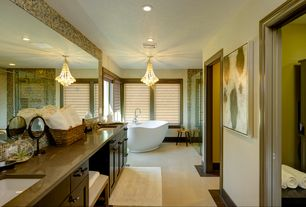 Modern Master Bathroom with specialty window, Vinyl floors, full backsplash, Flat panel cabinets, Freestanding, Double sink