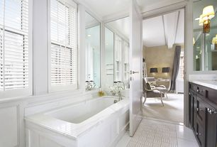 Traditional Master Bathroom with Flat panel cabinets, Fairport Wall Sconce, Flush, Master bathroom, specialty door