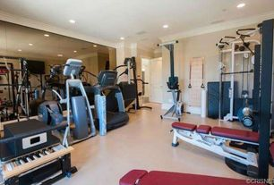 Traditional Home Gym with Carpet, Marcy Combo Smith Machine, Aristo CT1 Commercial Treadmill, Crown molding, specialty door