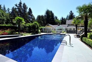 Traditional Swimming Pool with Deck Railing, Casement, exterior stone floors, Fence, Pathway, Lap pool, Glass panel door