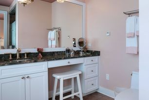 Traditional Powder Room with Undermount sink, Daltile City View Neighborhood Park Porcelain, Complex granite counters, Flush
