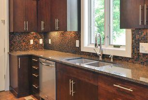Craftsman Kitchen with dishwasher, Ceramic Tile, Simple granite counters, Multiple Sinks, Flush, European Cabinets, Casement