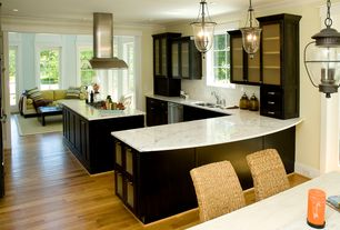 Traditional Kitchen with Flat panel cabinets, Glass panel, French doors, Multiple Sinks, Island Hood, Paint, Subway Tile