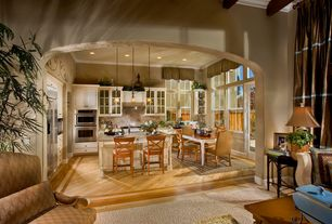 Traditional Kitchen with Kitchen island, Breakfast bar, French doors, Raised panel, Crown molding, Pendant light, L-shaped