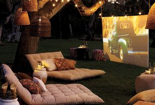 Rustic Home Theater with Pottery Barn - PB Essential 300 Thread Count Flat Sheet, String lights, flush light, Pendant light