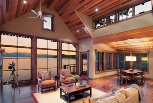 Craftsman Great Room with can lights, Casement, picture window, Ceiling fan, stone fireplace, Fireplace, Paint, Pendant light