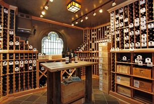 Country Wine Cellar with quartz tile floors, flush light, Built-in bookshelf, Crown molding