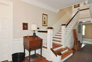 Traditional Staircase with Hardwood floors, Crown molding, Wainscotting, Box ceiling