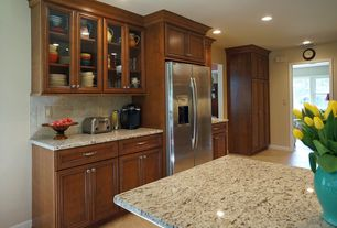 Traditional Kitchen with Limestone Tile, Simple granite counters, Raised panel, One-wall, Kitchen island, Glass panel
