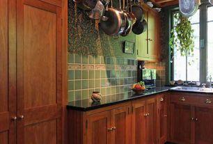Craftsman Kitchen with interior wallpaper, 4x4 ceramic tile, Clayhaus ceramics 4x4 glazed ceramic tile in eucalyptus