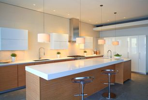 Modern Kitchen with Undermount sink, Breakfast bar, electric cooktop, Standard height, can lights, full backsplash, Wall Hood