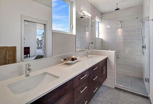 Contemporary Master Bathroom with Master bathroom, Handheld showerhead, Arizona Tile Granito Giamaica Recycled Material Tile