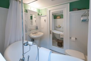 Cottage Full Bathroom with Clawfoot, Pedestal sink, Crown molding, Beadboard, Master bathroom, penny tile floors