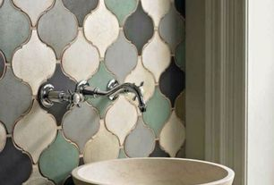 Eclectic Powder Room with Eden bath stone 5-in d beige natural stone round vessel sink