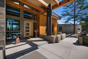Contemporary Front Door with exterior tile floors, Glass panel door