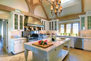 Country Kitchen with Chandelier, Kitchen island, L-shaped, specialty door, Complex Marble, Flush, Complex marble counters