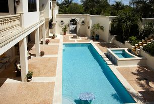 Swimming Pool with Fence, Fountain, exterior stone floors, Raised beds, Pathway, Gate, Lap pool