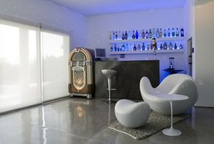 Contemporary Bar with Built-in bookshelf, Concrete floors, picture window, Standard height