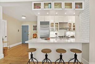 Contemporary Kitchen with Undermount sink, Flat panel cabinets, specialty door, Inset cabinets, One-wall, Kitchen peninsula