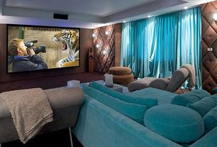 Eclectic Home Theater with Carpet, Box ceiling, interior wallpaper, Standard height, Wall sconce, can lights