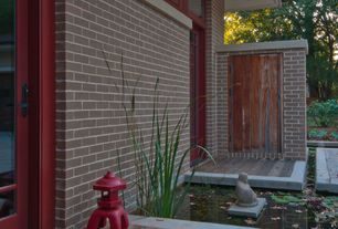 Asian Landscape/Yard with exterior tile floors, Hi-Line Gift Ltd. Happy Sitting Buddha Statue, Pond, French doors, Fence