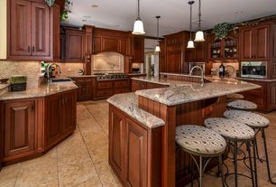 Traditional Kitchen with U-shaped, Complex granite counters, Custom hood, Breakfast bar, Pendant light, Inset cabinets