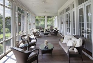 Traditional Porch with Screened porch, Resin wicker outdoor patio arm chair, Pathway, Resin wicker loveseat & table