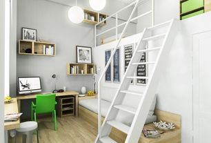 Contemporary Kids Bedroom with Loft, Paint 1, High ceiling, Stockholm bowl, stainless steel, Built-in seating, Pendant light