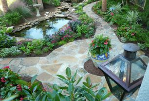 Rustic Landscape/Yard with Raised beds, Bird bath, MS International Autumn Flagstone, Fence, Pathway, Pond