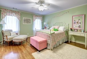 Traditional Kids Bedroom with Crown molding, Hardwood floors, Safavieh Cozy Solid Ivory Shag Rug (5'3 x 7'6), Ceiling fan