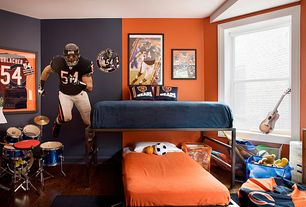 Traditional Kids Bedroom with Crown molding, Dick's sporting goods - northwest chicago bears bean bag, double-hung window