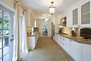 Traditional Kitchen with Crown molding, MS International Bologna Chiaro 3 in x 6 in Tumbled Travertine Floor and Wall Tile